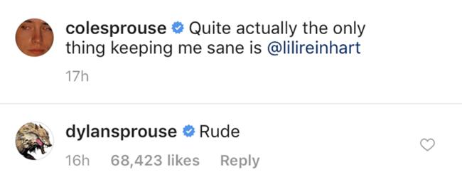 Дилан Спроусе је увређен слатком поруком Цоле Спроусе за Лили Реинхарт