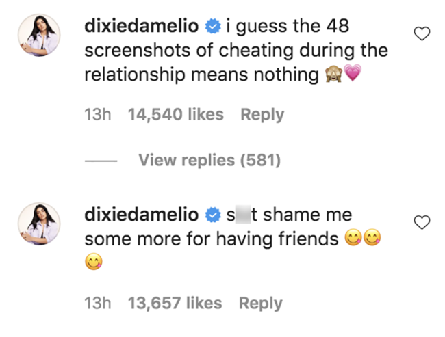 Dixie D'Amelio sagt, sie habe 48 Screenshots von Griffin Johnson, der betrügt, als sie Sl * t Shamers ruft