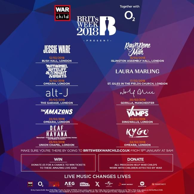 Jessie Ware, The Vamps, Kygo & More To Play BRITs Week 2018!