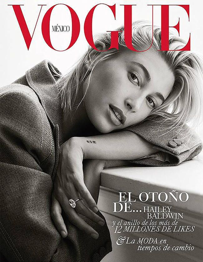Hailey Baldwin skryter av sin latterlig dyre forlovelsesring fra Justin Bieber på forsiden av Vogue