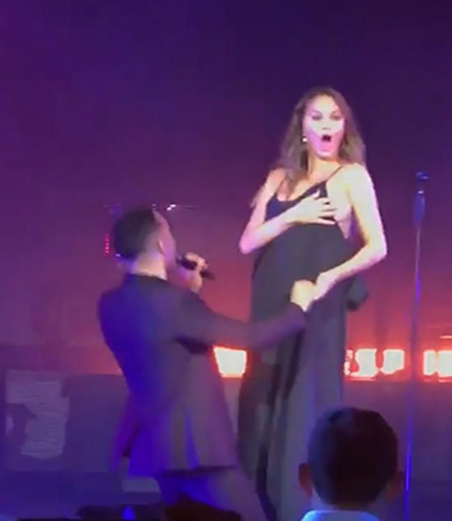 Сиса Цхрисси Теиген је изашла на сцену са Јохном Легендом и њена реакција је била урнебесна