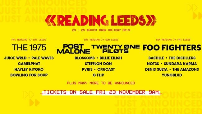 Reading & Leeds 2019: Foo Fighters, tjueen piloter, The 1975 & Post Malone To Headline