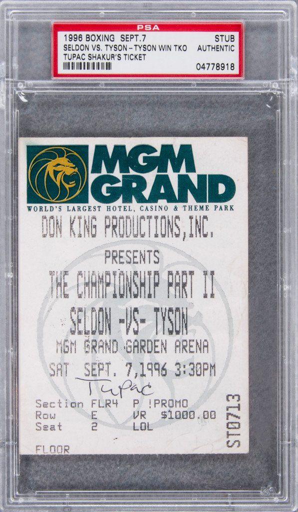 Tupac Shakurs Mike Tyson Fight Ticket von der Nacht an wurde er tödlich zum Verkauf erschossen